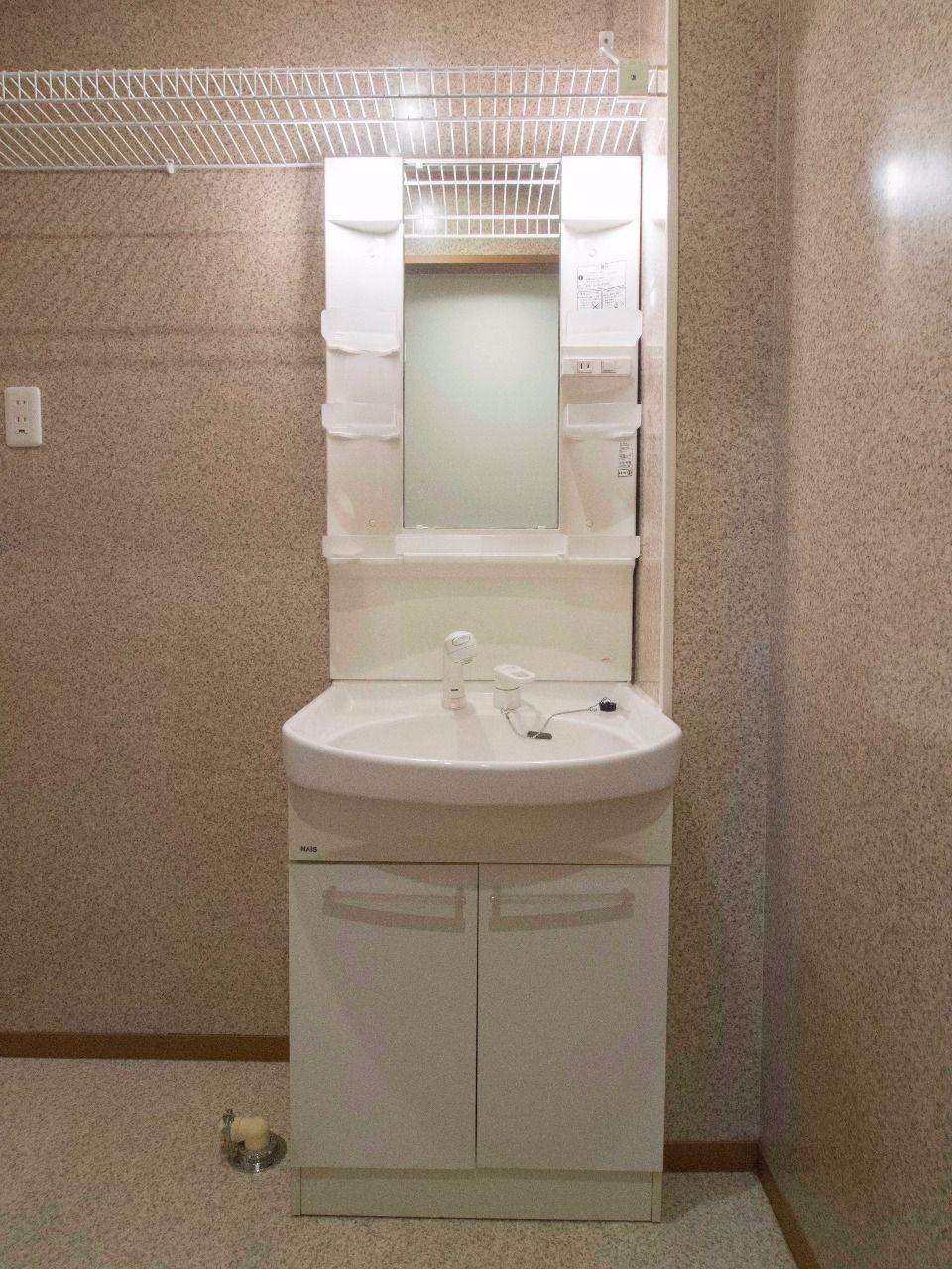 収納段のある洗面化粧台