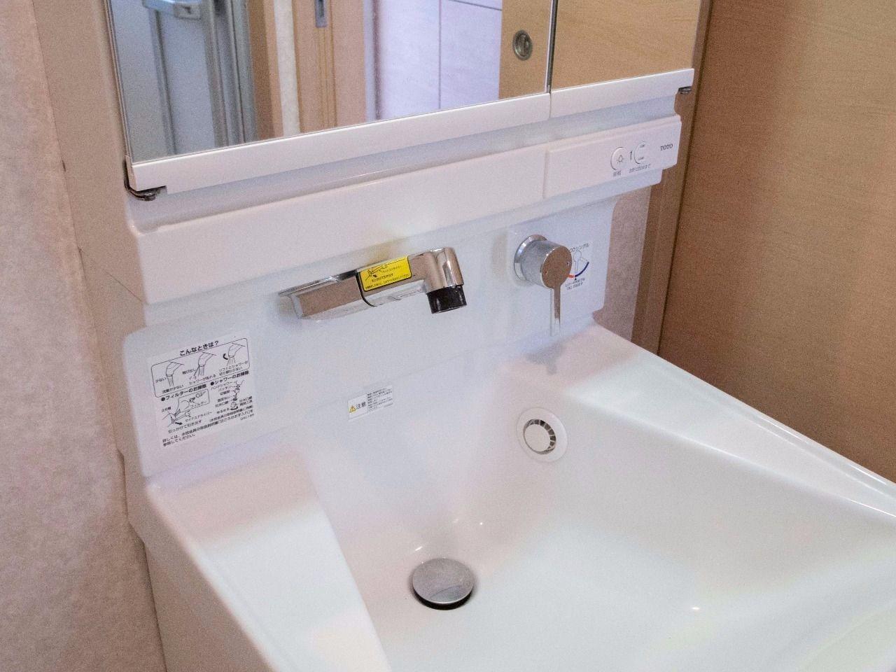 水栓立ち上がりが無く、清潔に保てます