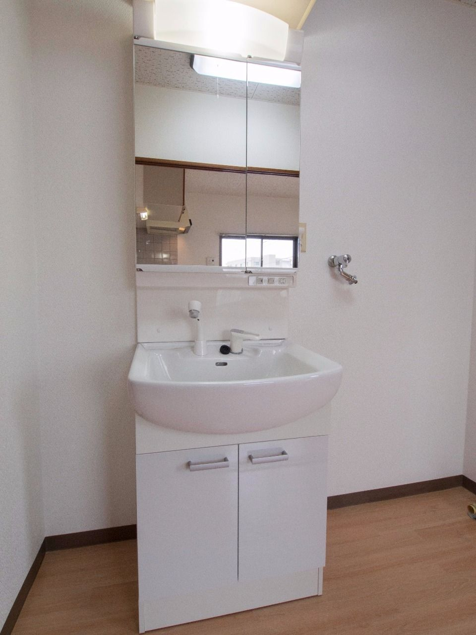 鏡裏収納のある洗面台