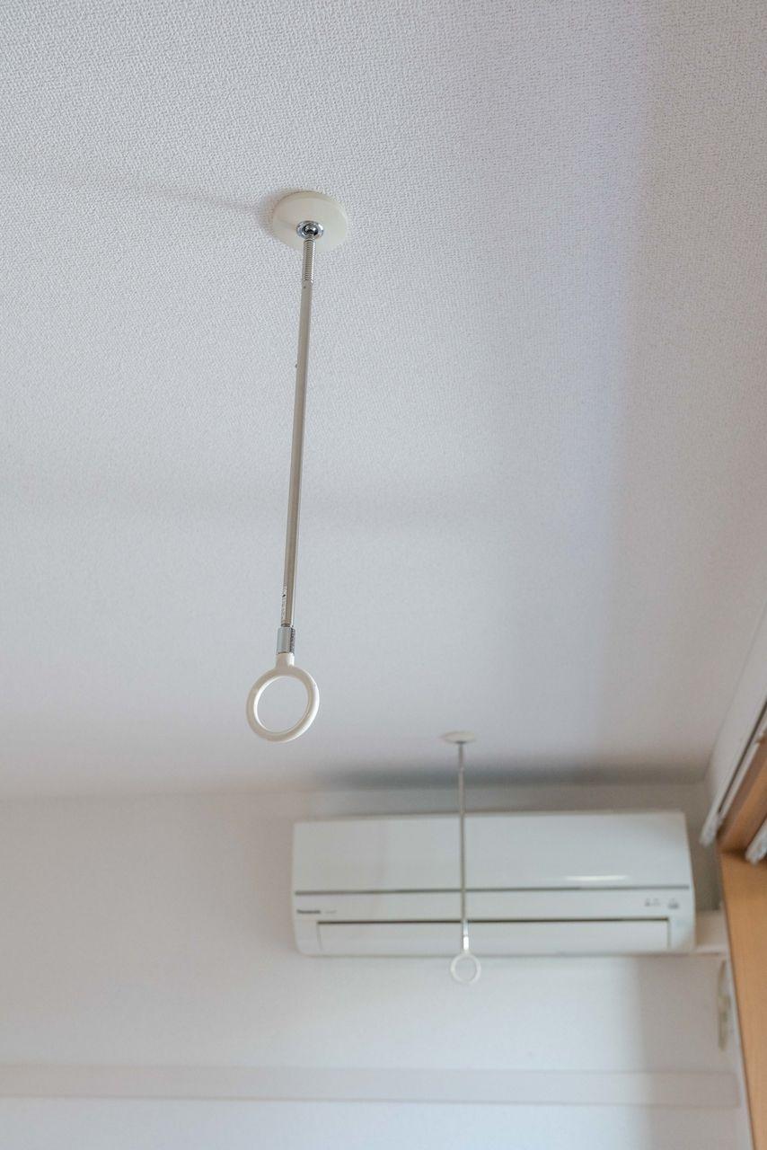 物干竿を使った室内干しが可能