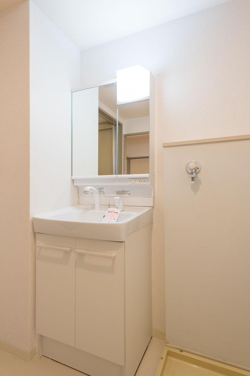 観音開きの洗面台下収納のある洗面台