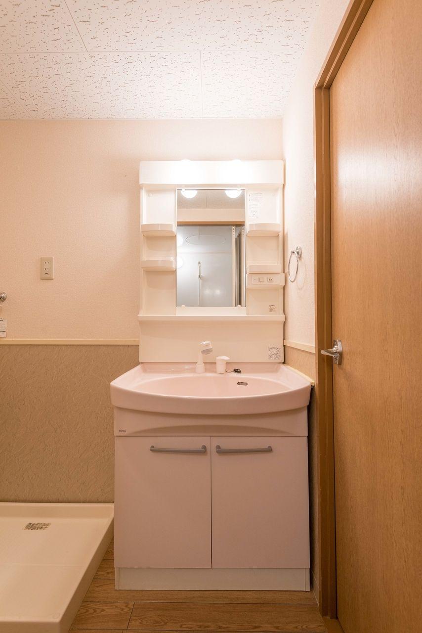 収納段と洗面下収納のある洗面台