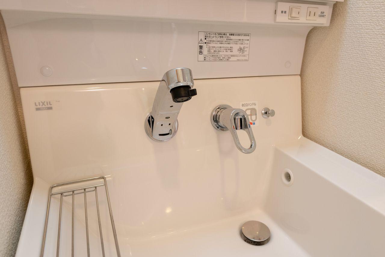 水栓立ち上がりがないので清潔に保てます