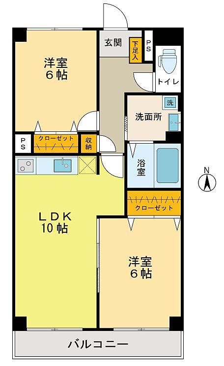 洋室2室の2LDK