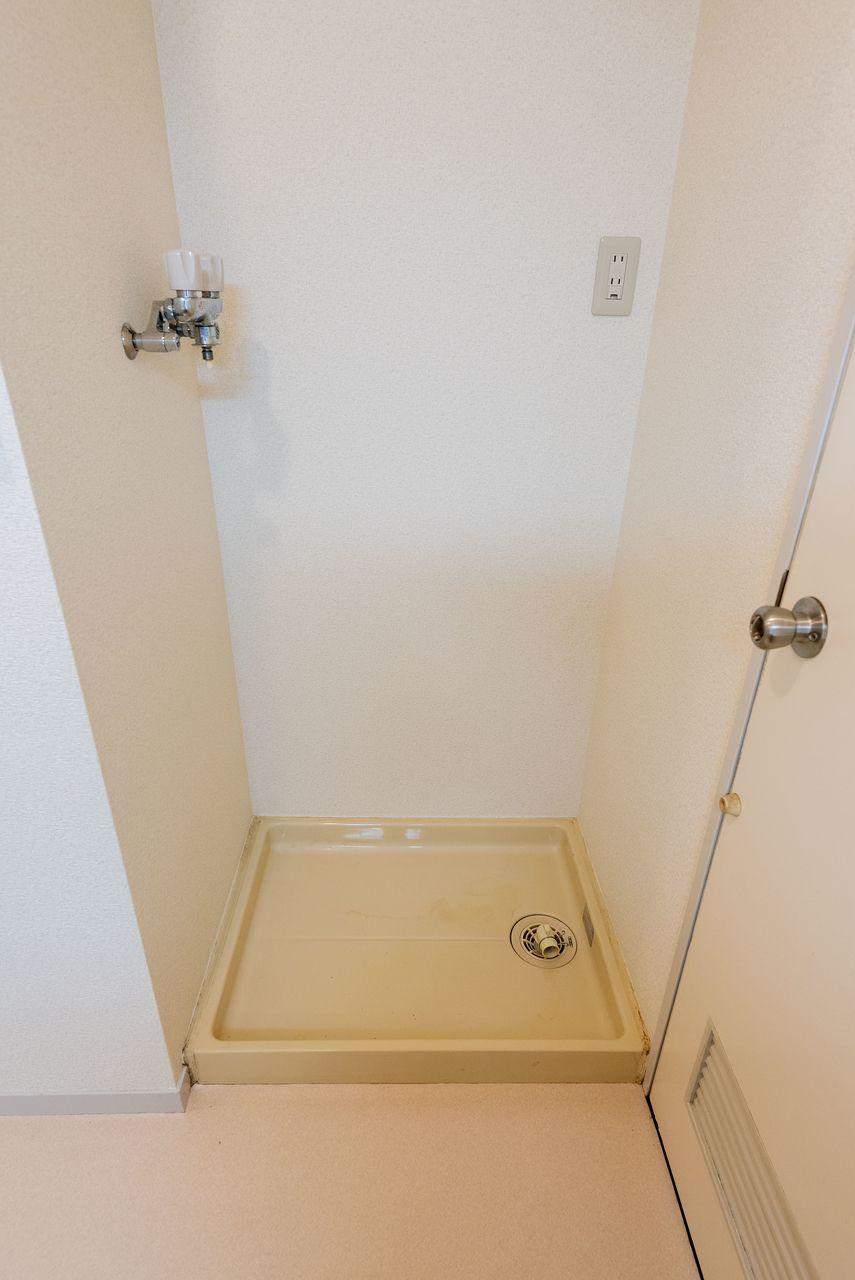 防水パンのある室内洗濯機置場