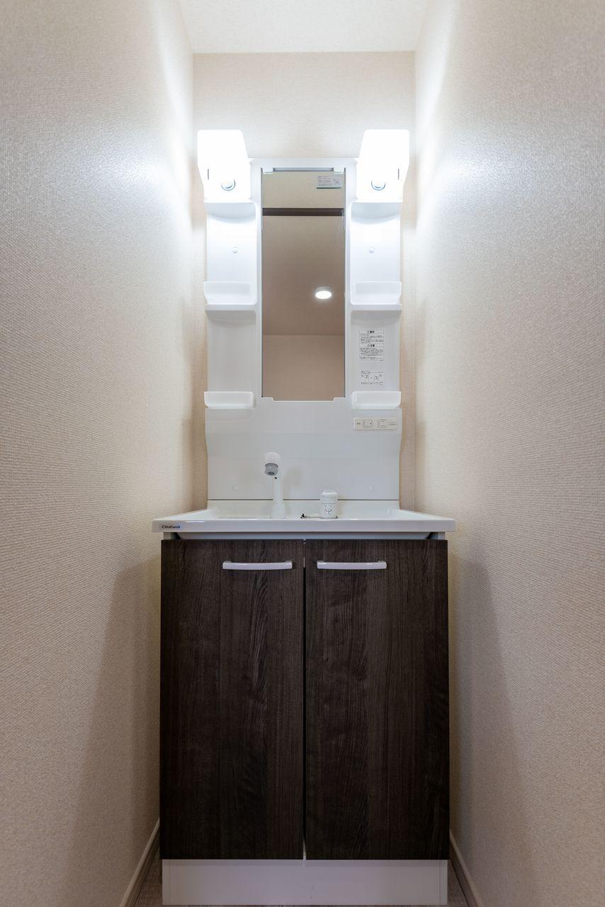 収納段と洗面台下収納あり