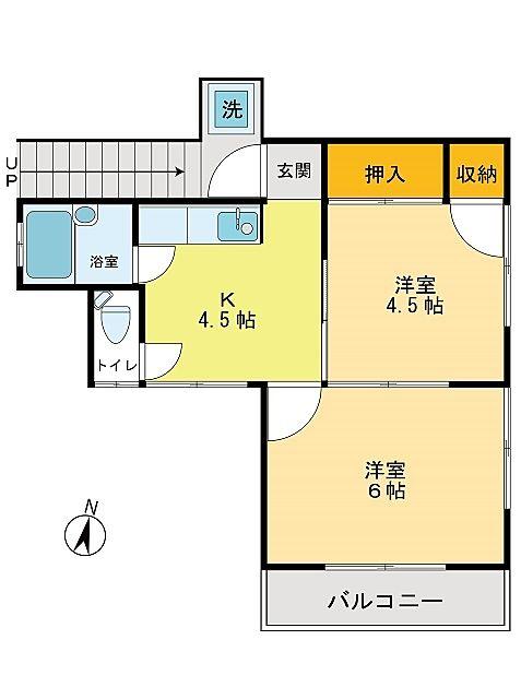 立川市柴崎町の間取り2Kのアパート