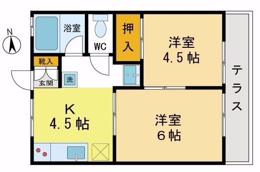 JR青梅線「中神駅」徒歩5分の2K