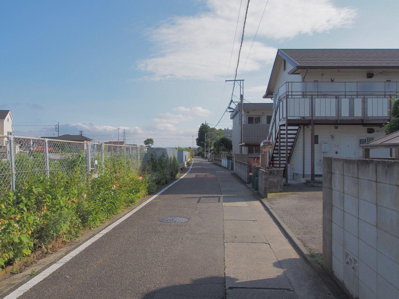 道路を挟んだ反対側は中央線が走っています。