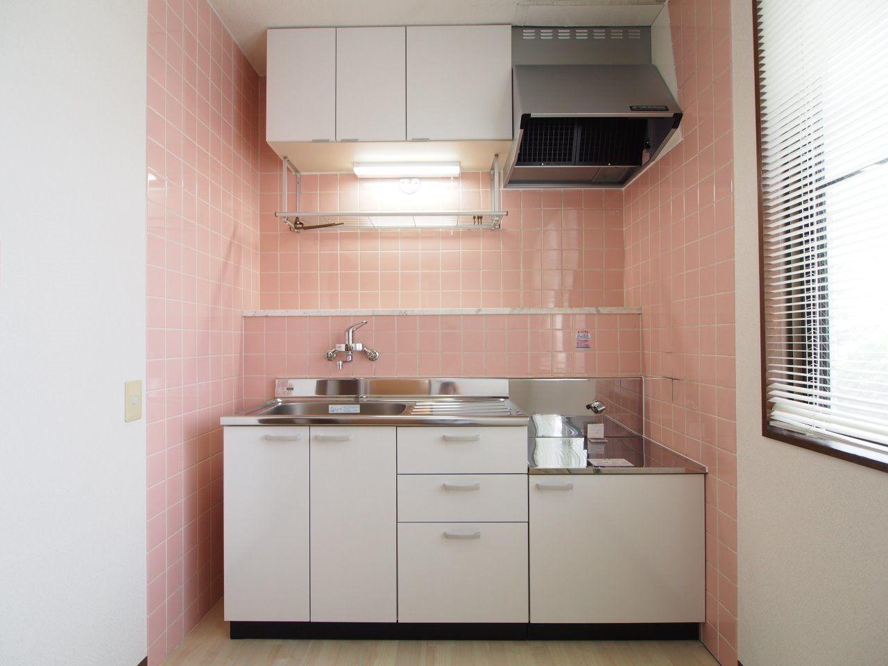 レンジフードのある、2口ガスコンロ対応キッチン
