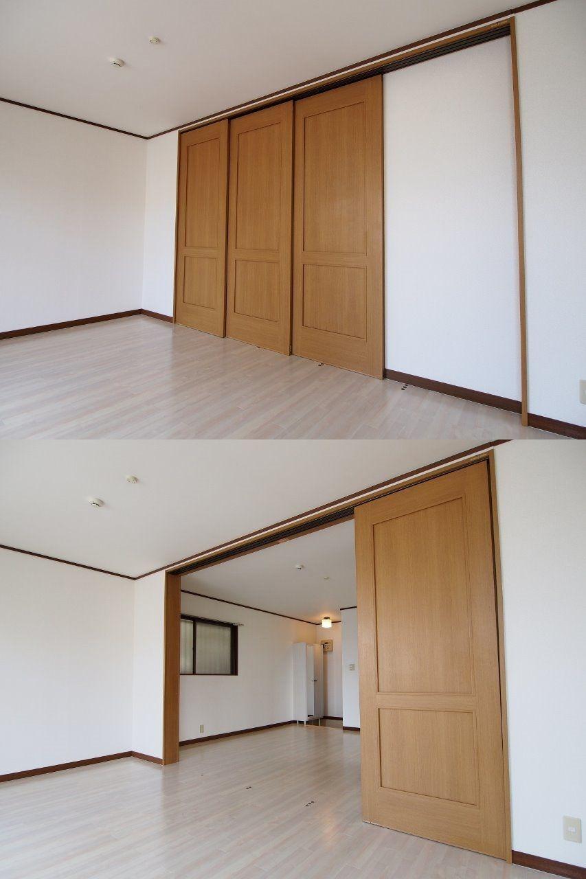 3枚戸の引戸は大きく開放してお部屋を広く使うことも可能