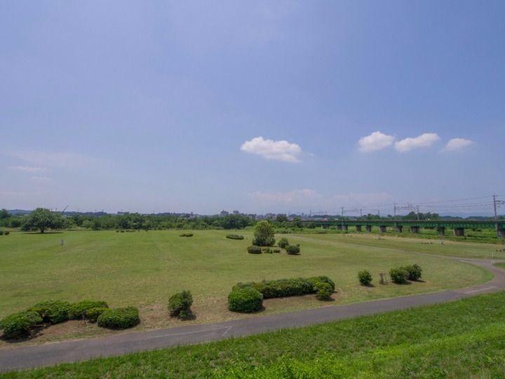 河川敷には整備された芝生広場あり
