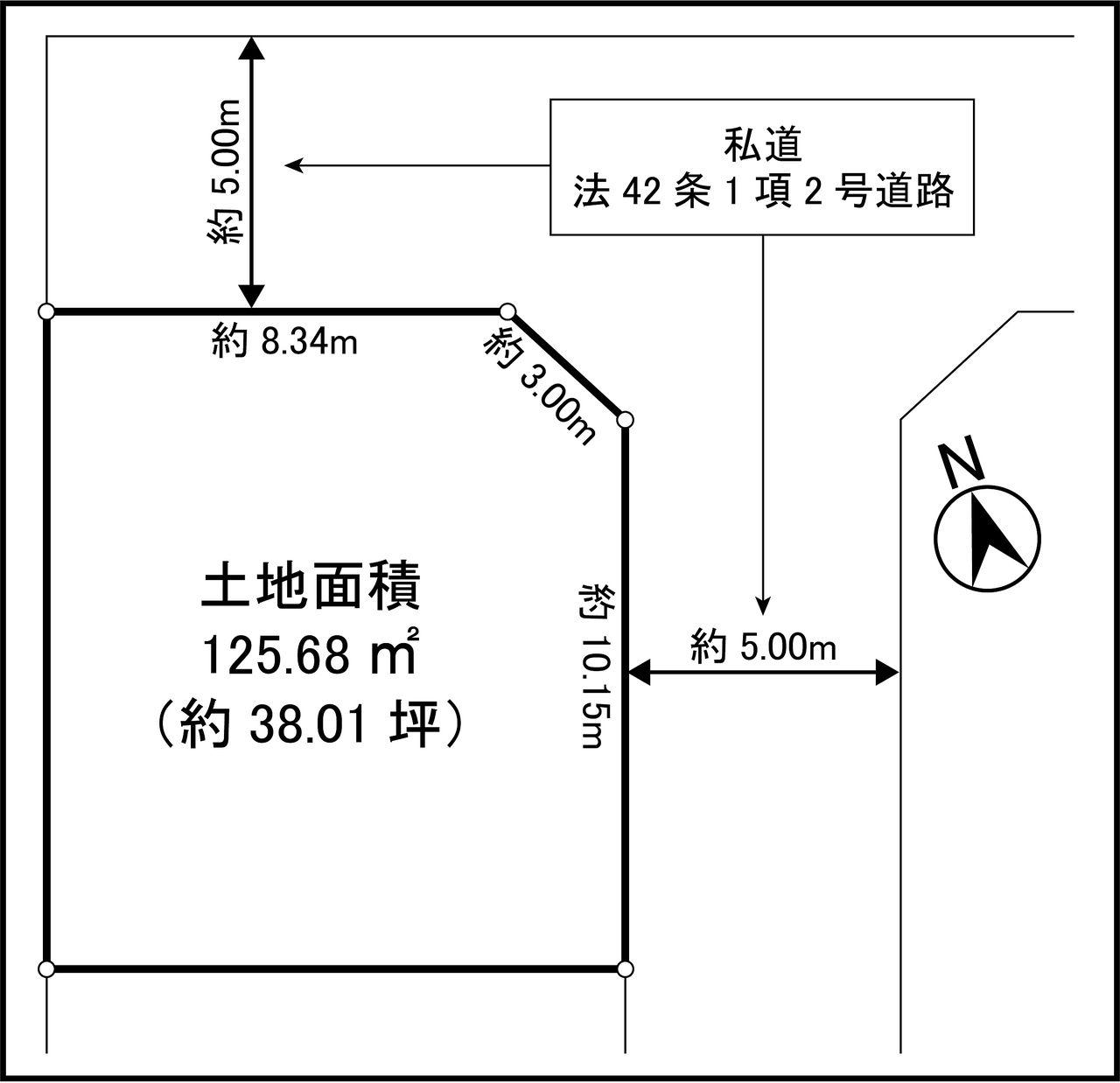 昭島市中神町2丁目 売地 敷地図